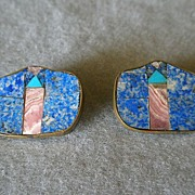 """Karen Sebiri"" Vintage Blue & Pink Agate w/Turquoise Inlaid Clip Earrings"