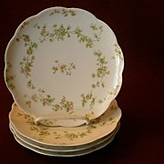 "Set of 4 Haviland & Co. Limoges ""Green & Pink Floral"" Coup Salad Plates - Schleiger #74A"