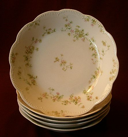 "Set of 5 Haviland & Co. Limoges ""Green & Pink Floral"" Soups Bowls -  Schleiger #74A"