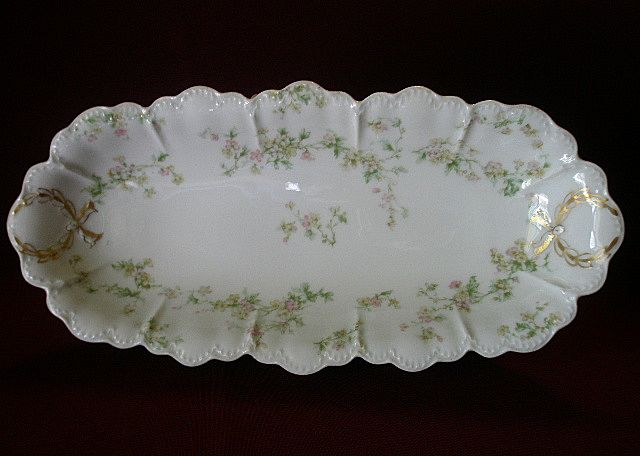 "Haviland & Co. ""Green & Pink Floral"" Celery Tray - Schleiger #74A"