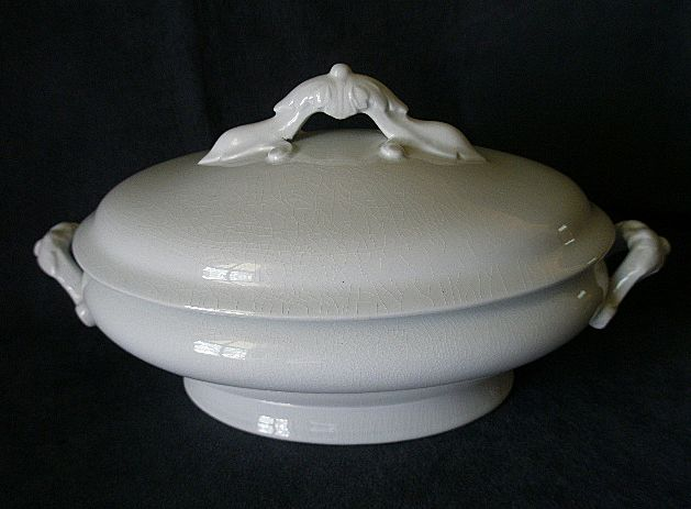 John Maddock & Son White Ironstone, Oval, Covered Tureen - Circa 1855