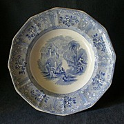 "Beardmore & Dawson Ironstone Blue Transferware ""Ontario"" Pattern Serving Bowl"