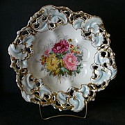C Tielsch Company Relish/Fruit Bowl with Floral Decoration & Reticulated Border
