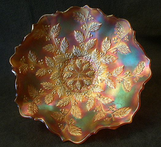 "Fenton Marigold Carnival ""Holly"" Pattern Flared Bowl"