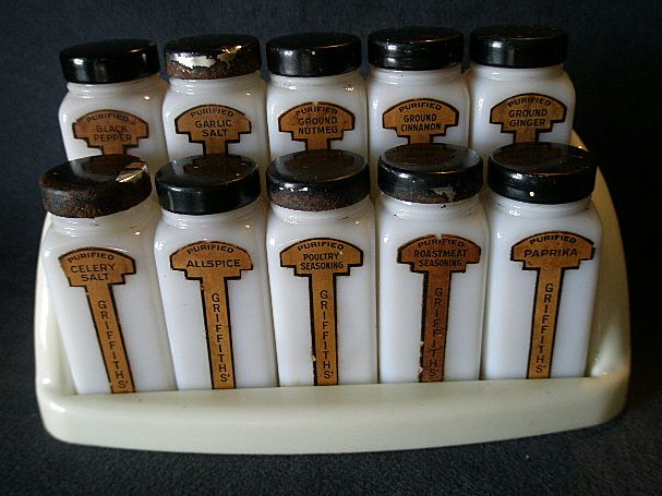 Griffiths' Milk Glass 10-Jar Spice Set in Original Stand