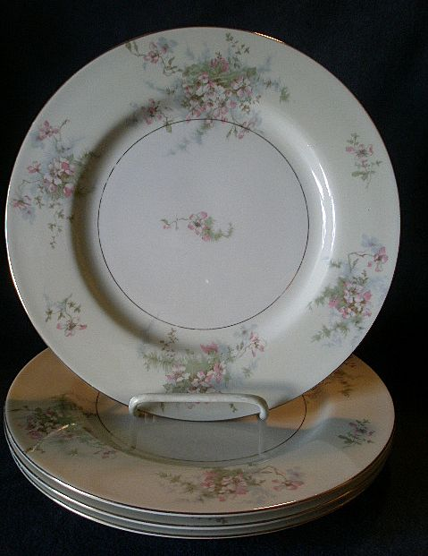 "Set of 4 Theodore Haviland, New York ""Apple Blossom Pattern 10 1/8"" Dinner Plates"