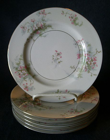 "Set of 6 Theodore Haviland, New York, ""Apple Blossom"" Pattern 7 1/2"" Salad/Dessert Plates"