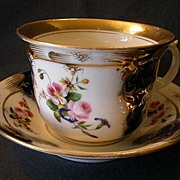 Dresden Style Large Cup & Saucer w/Cobalt Blue, Gold & H.P. Floral Decoration