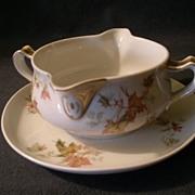 "Charles Haviland & Co. Limoges - ""Jewel Tea - Autumn Leaf"" Gravy Boat w/Attached Under-plate"