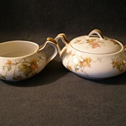 "Charles Haviland & Co. Limoges - ""Jewel Tea - Autumn Leaf"" Sugar & Creamer Set"