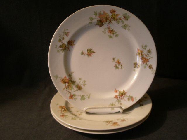 """Set  of 3 Charles Haviland & Co. Limoges - """"Jewel Tea - Autumn Leaf"""" Dinner Plates"""