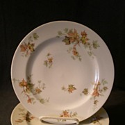 "Set of 4 Charles Haviland & Co. Limoges - ""Jewel Tea - Autumn Leaf"" Luncheon Plates"