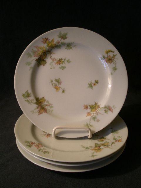"""Set of 4 Charles Haviland & Co. Limoges - """"Jewel Tea - Autumn Leaf"""" Salad/Dessert Plates"""