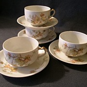 "Set of 4 Charles Haviland & Co. Limoges - ""Jewel Tea - Autumn Leaf"" Cup & Saucer Sets"