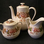 "Josiah Wedgwood & Sons ""WildBriar"" Pattern Coffee, Creamer & Covered Sugar"