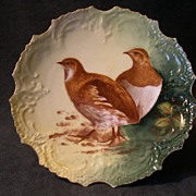 Lazeyras, Rosenfeld & Lehman Limoges Hand-Painted Game Plate w/Two Birds
