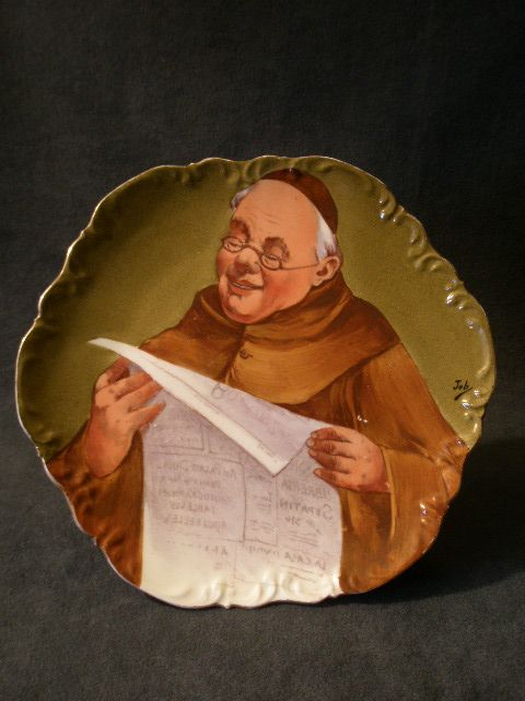 Coronet Limoges Hand-Decorated & Artist Signed Plate w/Portrait of Monk