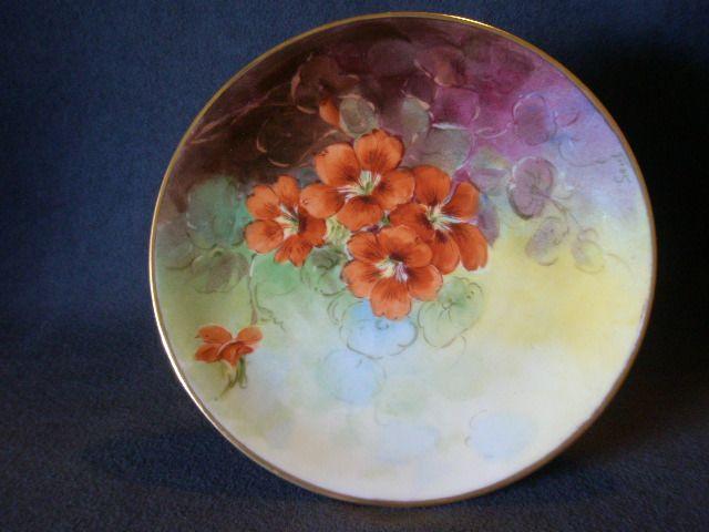 Julius H Brauer Studio H.P. Cabinet Plate w/Nasturtium Flowers