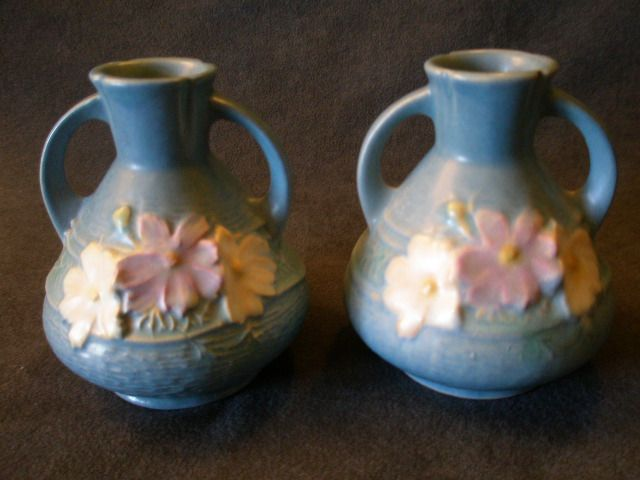 "Roseville Pottery ""Cosmos"" Vase in Blue #944-4"