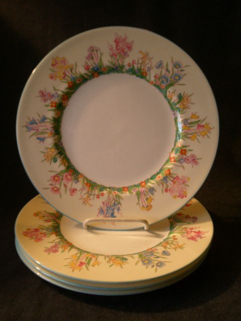 "Josiah Wedgwood & Sons ""Prairie Flowers"" Pattern Dinner Plates - Set of 4"