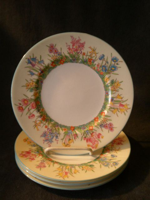 "Josiah Wedgwood & Sons ""Prairie Flowers"" Pattern Luncheon Plates - Set of 4"