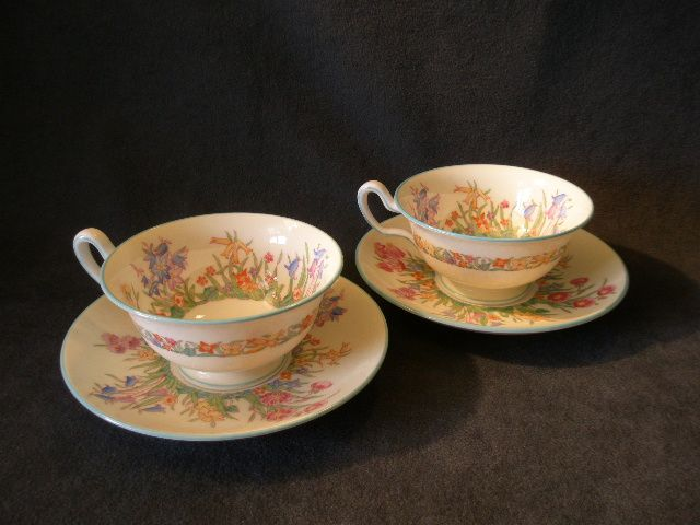 "Josiah Wedgwood & Sons ""Prairie Flowers"" Pattern Footed Cups & Saucers - Set of 2"