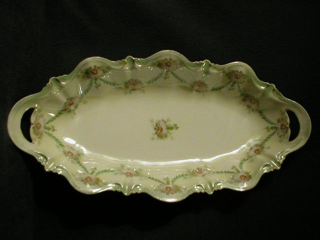R.S. Prussia Celery/Relish Tray with Floral Decor