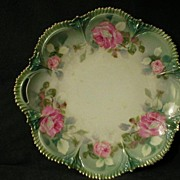 R.S. Prussia Serving Plate With Vivid Pink Roses Decor
