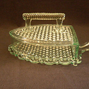 "Early American Pressed Glass Apple Green ""Sad or Flat Iron"" Covered Butter Dish"