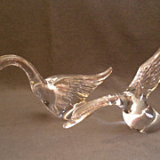 Pair of Heisey Crystal Geese Figures w/ Wings Half & Wings Up