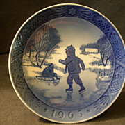 "Royal Copenhagen 1965 Christmas Plate - ""Little Skaters"""