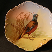 Coronet Limoges Game Plate w/BIrd Transfer Design