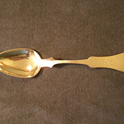 H. P. Elias American Coin Silver Tablespoon - Fiddleback Handle