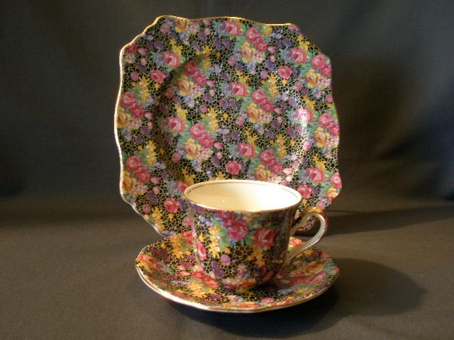 "Pair of Royal Winton Chintz China ""Hazel"" Pattern 3-Piece Trio (Luncheon & C/S)"