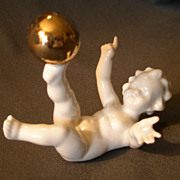"Hutschenreuther Porcelain ""Nude Child w/Gold Ball"" Figurine"