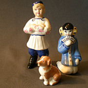 Group of 3 -Ceramic Arts Studio Figurines - Oriental Girl, Russian Boy & a Dog - Red Tag Sale Item