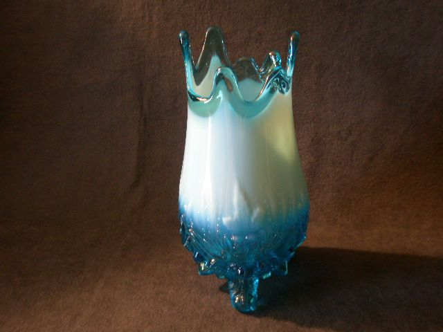 "Sowerby Glass Company Blue Opalescent ""Piasa Bird Vase"" - United Kingdom"