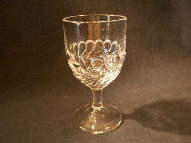 "Set of 5 - Reissued ""Plume"" Pattern Goblets - L.G. Wright Glass Company"