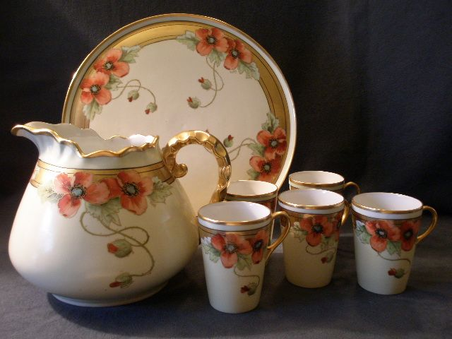 "Howard B Reury Chicago Studio H. P. Porcelain ""Poppies"" Lemonade Set w/Tray"