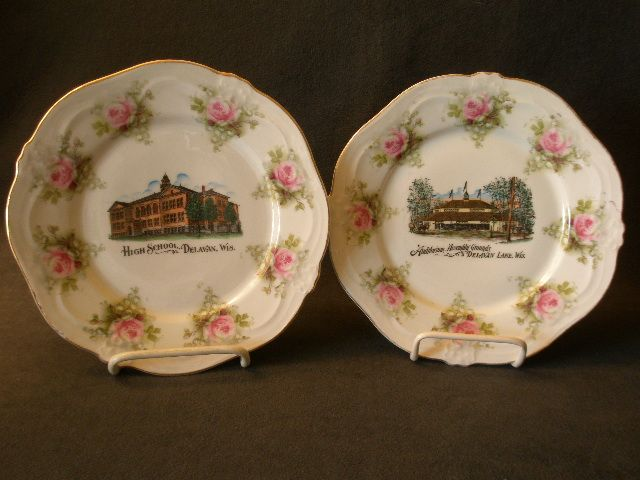 Pair of Delavan & Delavan Lake, Wisconsin Souvenir Plates w/Transfer of Landmarks