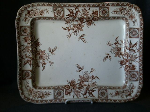 "Wallace Gimson & Co. ""Garfield"" Pattern Brown Transfer-ware Platter"