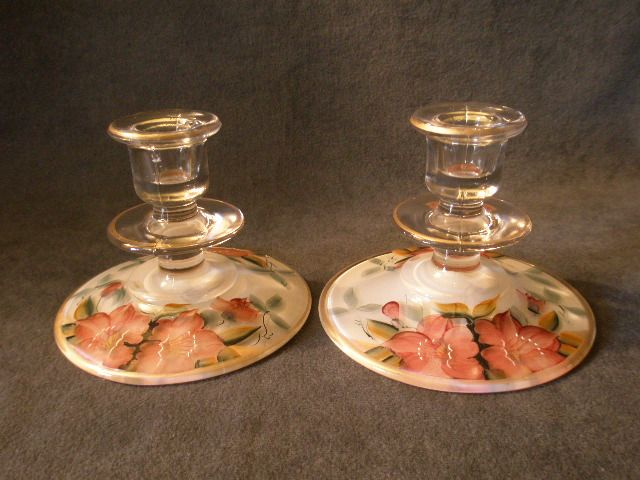 "Depression Era Clear Glass Pair of Candle Holders  with Hand-Painted ""Azalea"" Floral Motif"