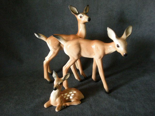 "Brad Keeler California Pottery 3-Piece ""Deer Family"" Figurine Set"