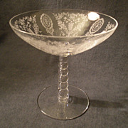 "Tiffin ""June Night"" Pattern Round Beaded Stem Compote"