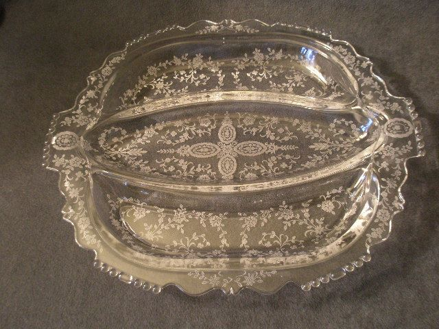 "Tiffin ""June Night"" Pattern 3-Section Celery/Relish Tray"