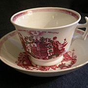 "Independent Order Of Odd Fellows Fraternity Cup & Saucer - Circa 1800""s"