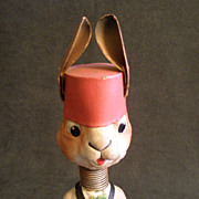 German Paper Mache Bobble Head Rabbit Playing a Drum - Circa 1930