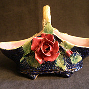 Victorian Barbotine Majolica Basket w/Rose Decorations