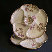 Pair of CFH/GDM Porcelain 5-Well Oyster Plates w/Purple Floral Motif