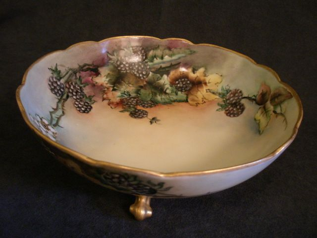 A Klingenberg & C Dwenger Porcelain Hand Painted Footed Bowl w/Blackberries & Floral Motif